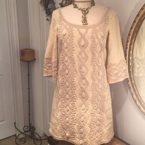 eci 💯 % Linen Embroidered Dress